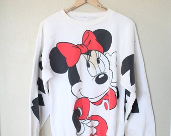 vintage distressed minnie mouse white oversized slouchy 1980's sweatshirt
