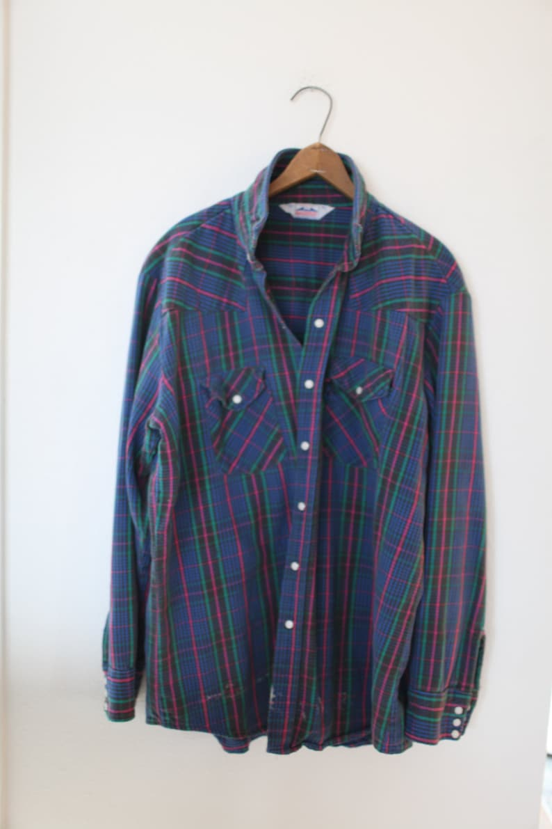 vintage 1970/'s western cut plaid gray blue flannel pearl snap button up shirt *407