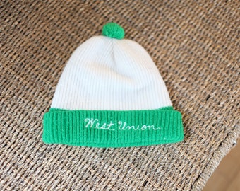 vintage west union green puff ball beanie  hat