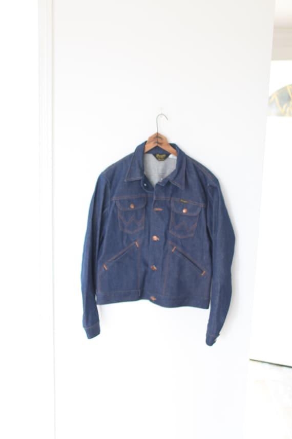 Vintage 70s wrangler denim jean jacket large