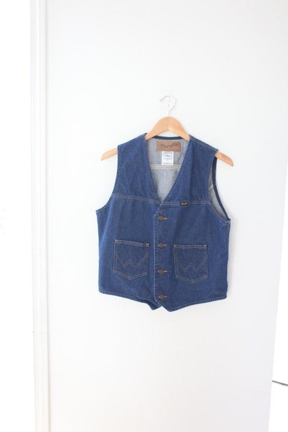 vintage wrangler denim blue western vest #0574