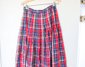 vintage pendelton red tartan plaid pleated skirt with pockets