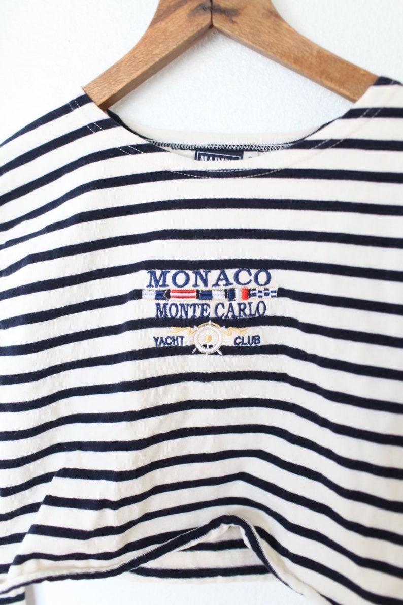 vintage navy blue /& white striped monaco cropped  top nautical  t shirt #0374