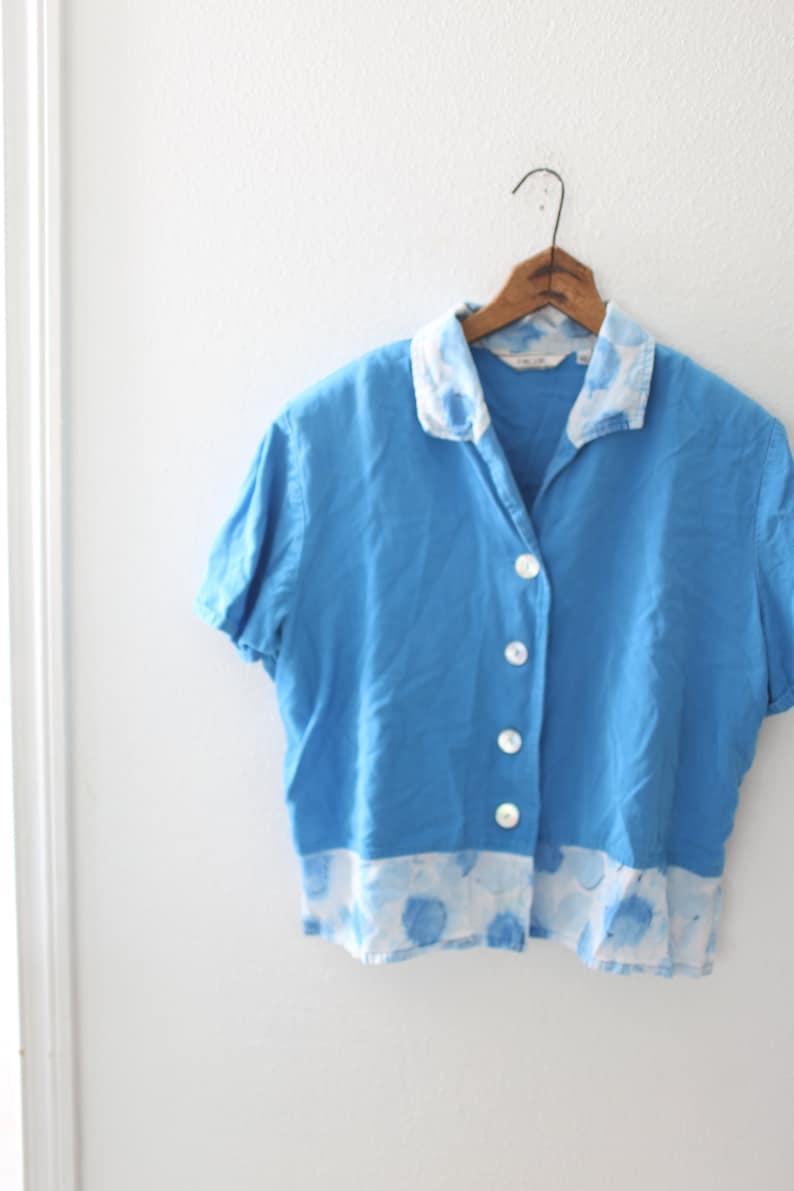 vintage 90s oversized blue  button up crop top #0625