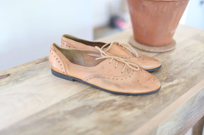 3968e10b2300e vintage tan brown leather lace up wingtips oxfords womens 8 1/2
