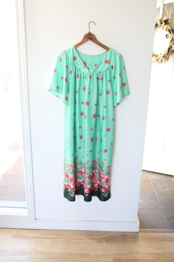 vintage green  & pink  tunic mu mu kaftan dress #0