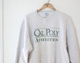 vintage Cal Polu University athletics oversized  heathered gray sweatshirt