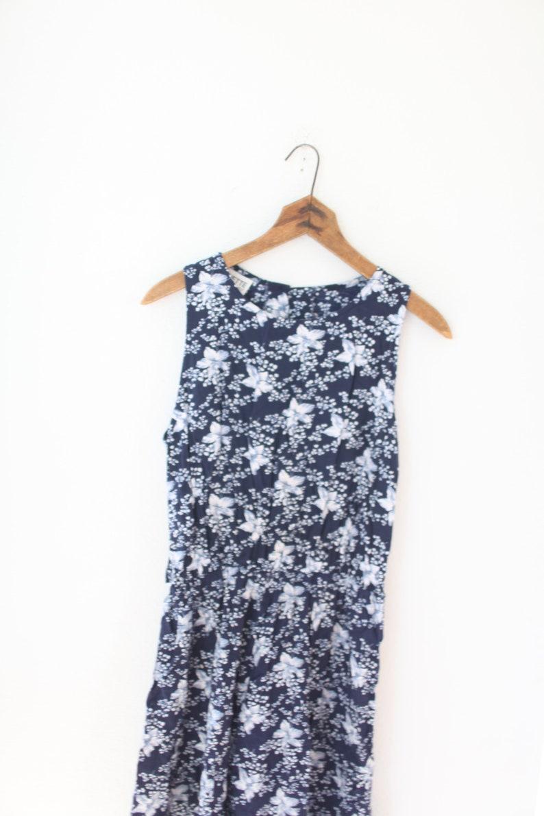vintage blue /& white wildflower  dress #0624