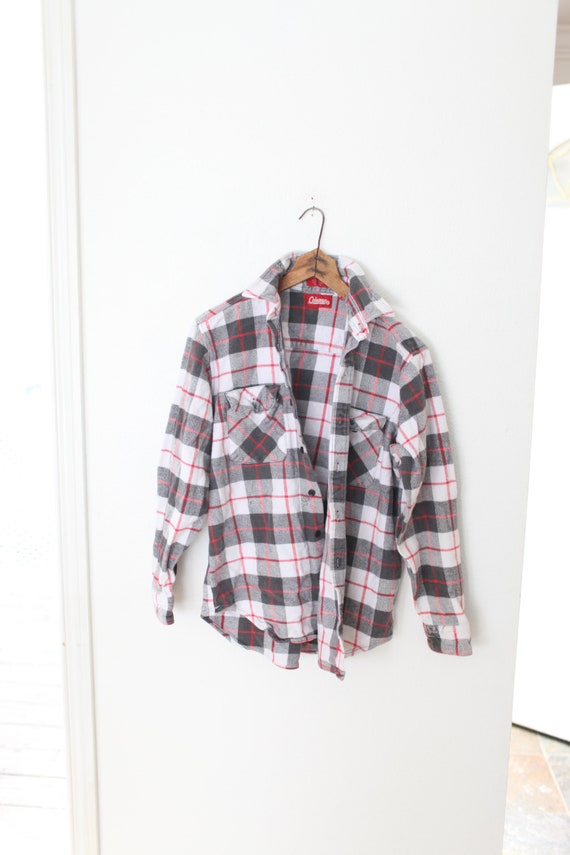 vintage coleman gray red plaid flannel  button dow