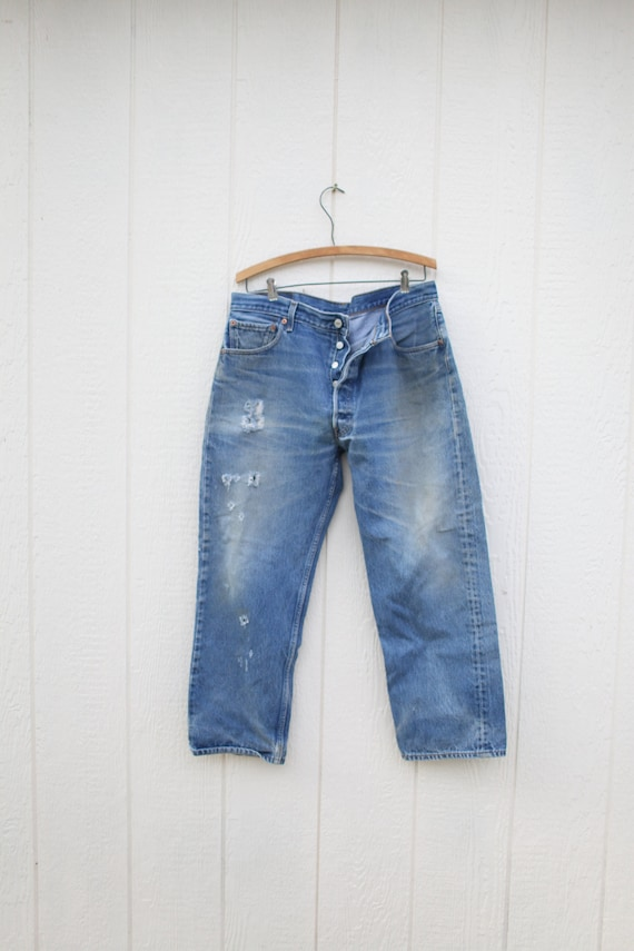 vintage distressed  levis 501  jeans denim 38  30