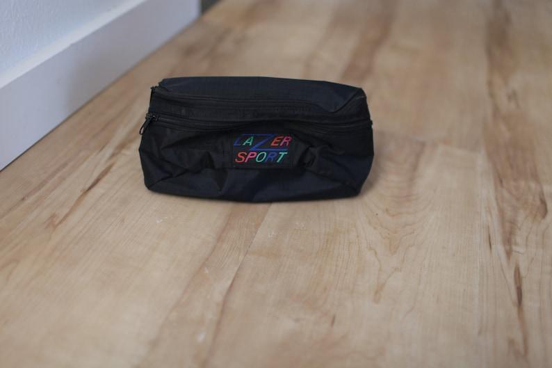 vintage lazer sport black canvas tourist fanny pack