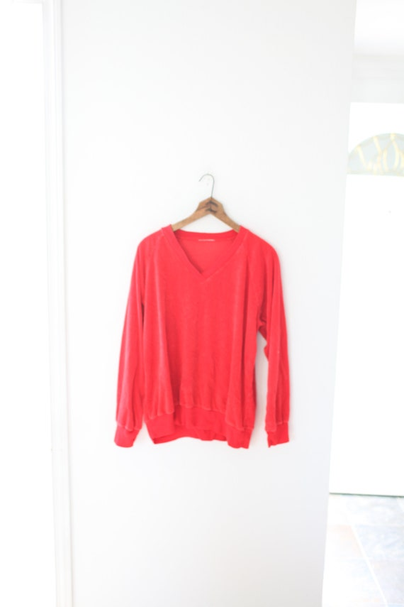 vintage red  velour velvet v-neck sweater sweatshi