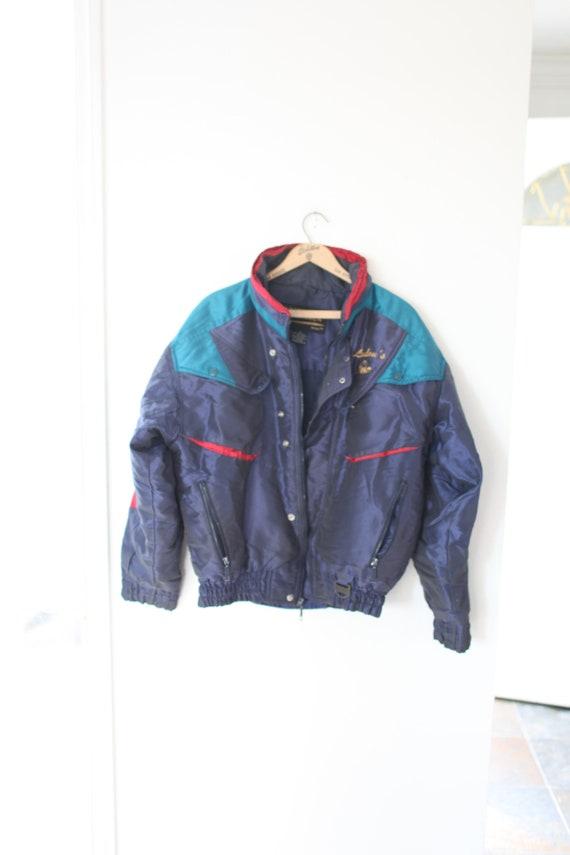 vintage 80s innsbruk navy blue puffer ski jacket c