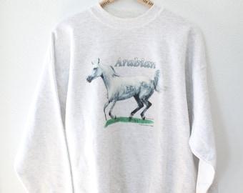 vintage arabian horse heathered gray oversized sweatshirt