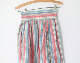 blue rainbow striped pleated skirt  24