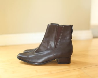 vintage  brown leather oxfords ankle boots womens 6 1/2