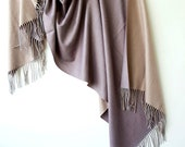 Vintage scarves for women, wool large scarf beige lavender