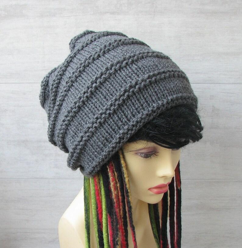 edbaa9fea98 Large head hat Extra Long Tam Big Black Knitted Womens Solid