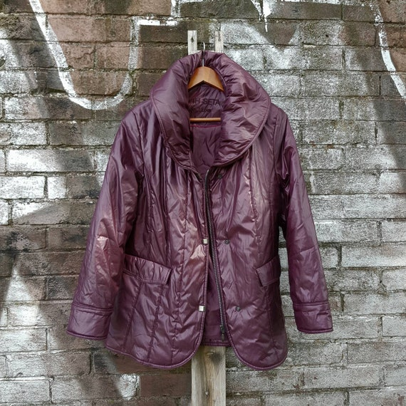 Gesteppte Kleidung Jacke Farbe90er Burgund Jahre Auberginen Mantel Vintage Winter Groß Für Größe In Frauen P0Ok8nw