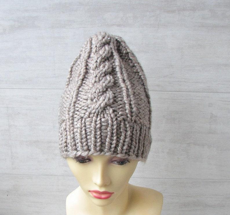 3d8305d506a Taupe Knit Women Hat Alpaca Hand Knit Hat Beanie Women Hat