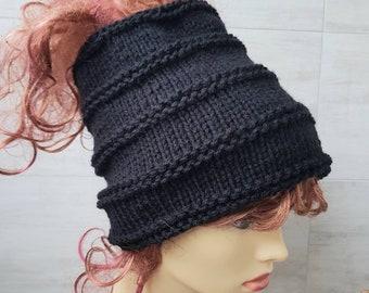 Beanie Hat Open Back, Headband for Dreadlocks, Wide Knit Head Sock, Wrap, Winter Accessories Unisex