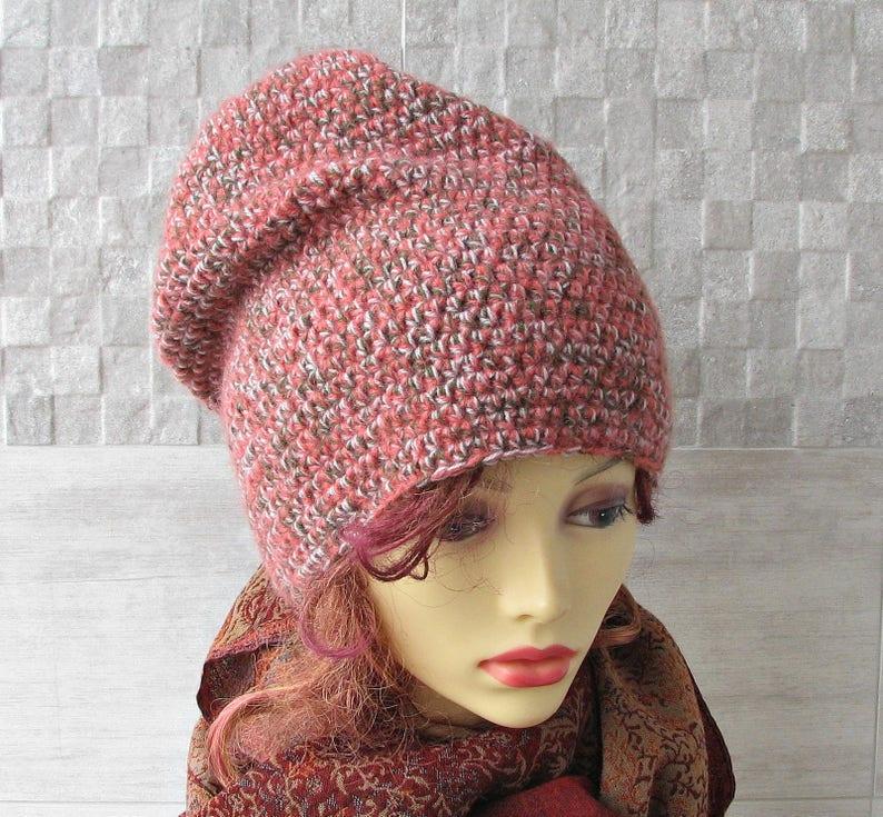 d9a8f775c38 Crochet hat women Long slouchy beanie Large head tam Blush