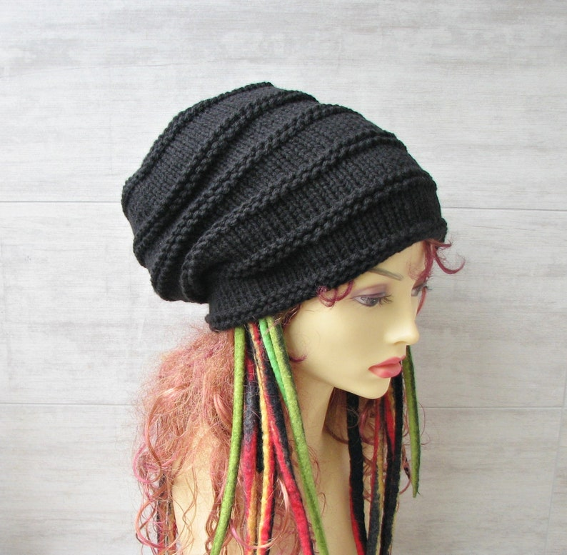 Large head hat Extra Long Back Tam Big Thick Black Knitted  97c488754ff3