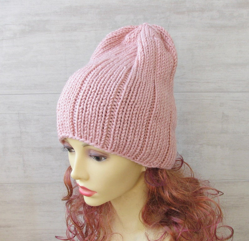 72780756add Winter slouchy beanie woman Knitted blush pink hipster hat