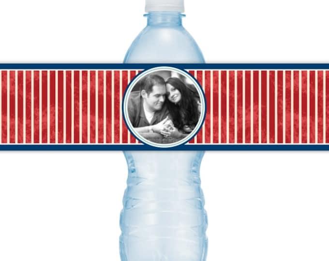 Wedding Photo Printable Water Bottle Labels - CUSTOM Printable Nautical Water Bottle Labels, YOU print, you cut, DIY water bottle labels