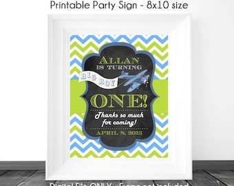 Chalkboard Birthday Sign, Airplane Birthday Sign, 1st Birthday Chalkboard Printable Sign, Custom 1st Birthday Sign, 8x10, YOU print