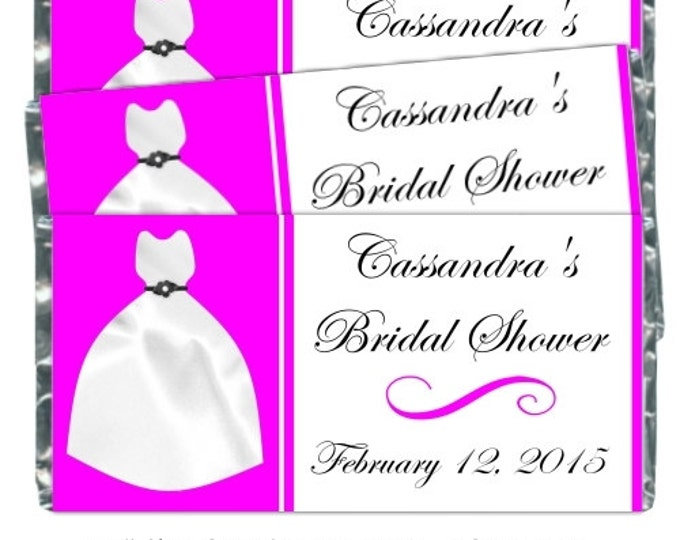 Printable Candy Wrappers, Wedding Dress Candy Wrappers, fit over chocolate wrappers bars, CUSTOM Bridal candy wrapper, bridal shower wrapper