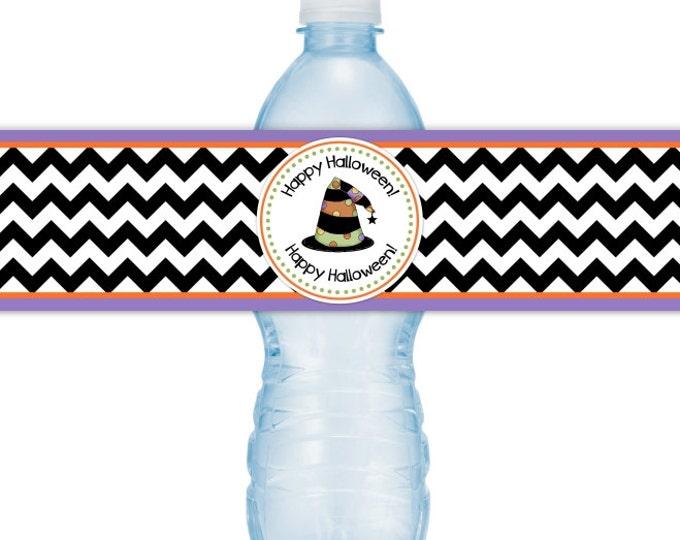 Halloween Party Water Bottle Labels, INSTANT DOWNLOAD, Happy Halloween Water Bottle, chevron, purple, witch hat  you print, DIY water labels