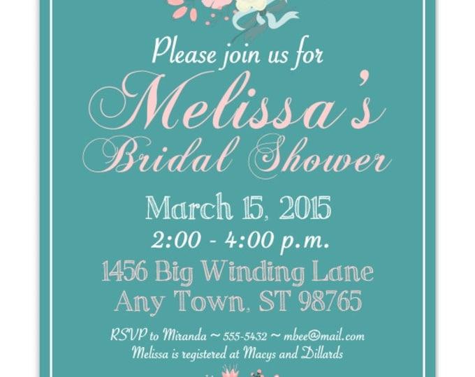 Printable Bridal Shower Invitation, Teal, Pink Wedding Shower Invite, Printable Bridal Shower Invite, CUSTOM Design, 4x6, 5x7, YOU print