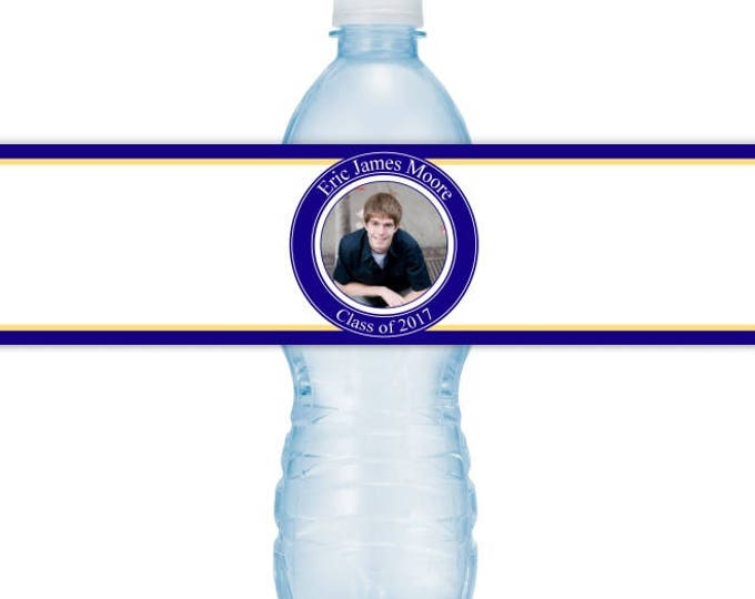 Graduation Photo Printable Water Bottle Labels - CUSTOM Printable Water Bottle Labels, YOU print, you cut, DIY water bottle labels