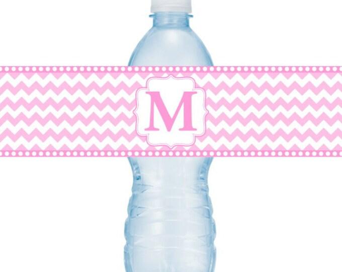 Monogram Printable Water Bottle Labels, CUSTOM Printable Chevron and Monogram Wedding Water Bottle Labels, you print DIY water bottle labels