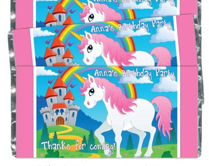 Printable Candy Wrappers, Unicorn Custom Candy wrappers, Unicorn Birthday Candy Wrappers - fit over chocolate bars - CUSTOM design for you
