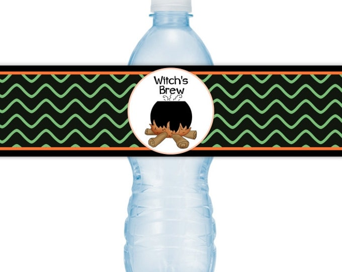 Halloween Party Water Bottle Labels, INSTANT DOWNLOAD, Happy Halloween Water Bottle, witch's brew, you print, DIY water labels