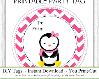 Christmas Printable Tags, Penguin To/From Xmas Tags, DIY Party Tags, You Print, You Cut, INSTANT DOWNLOAD