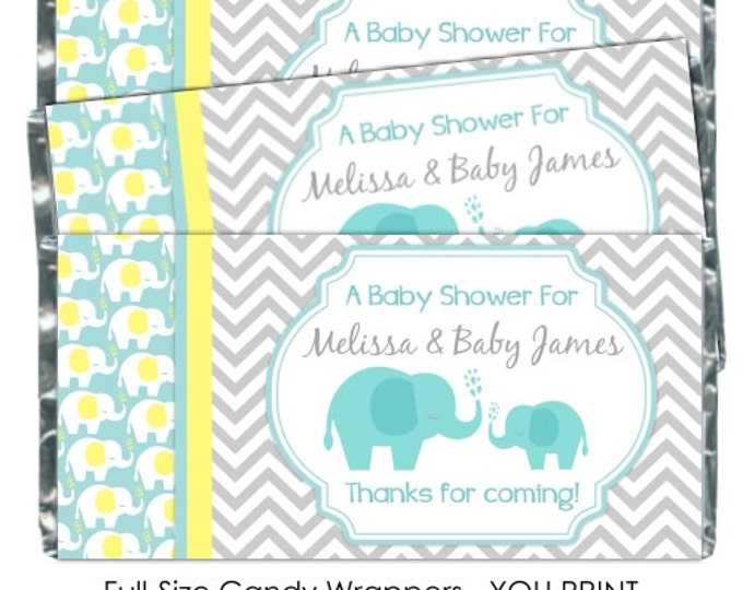 Printable Candy Wrappers, Mod Elephant Baby Shower Candy Wrappers, Elephant Chocolate Bar Candy Wrappers - Baby Shower YOU PRINT wrappers