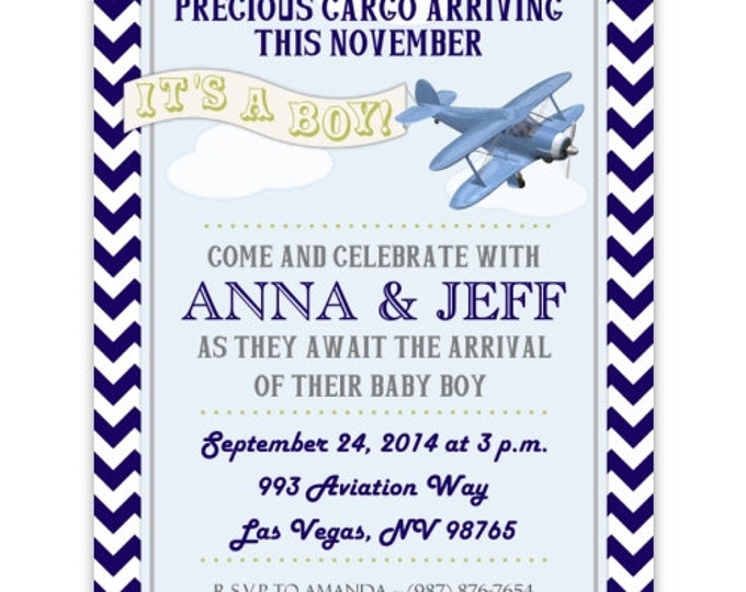 Airplane Baby Shower Invitation, Aviation Baby Shower Invitation, Digital Design - CUSTOM for You - 4x6 or 5x7 size - YOU print