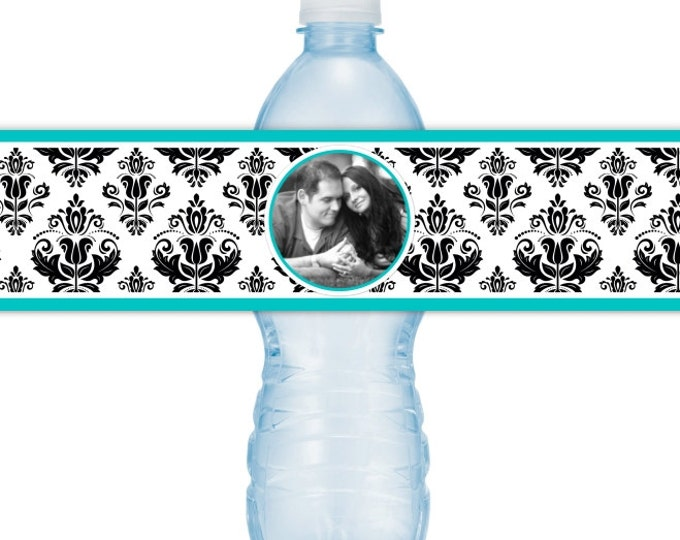 Wedding Photo Printable Water Bottle Labels - CUSTOM Printable Damask Water Bottle Labels, YOU print, you cut, DIY water bottle labels