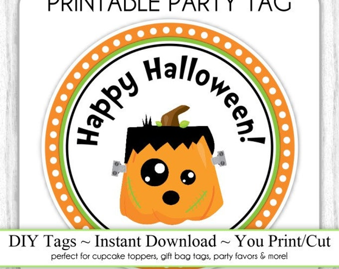 Halloween Printable Tags, Cute Pumpkin Monster Tags, DIY Party Tags, You Print, You Cut, INSTANT DOWNLOAD