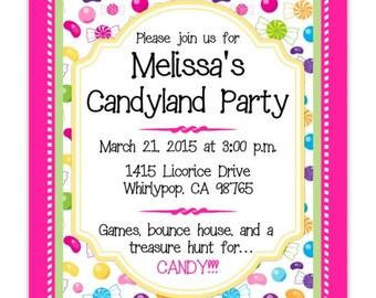 Candy land Party Birthday Invitation, Candy Birthday, Digital Design, CUSTOM 4x6 or 5x7 size, YOU print