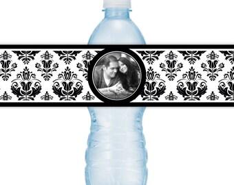 Wedding Photo Water Bottle Labels - CUSTOM Printable Damask Water Bottle Labels, YOU print, you cut, DIY water bottle labels