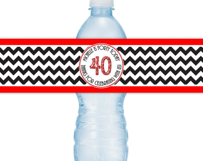 40th Birthday Printable Water Bottle Labels, CUSTOM 40th Birthday, Chevron Design, you print, you cut, DIY water bottle labels