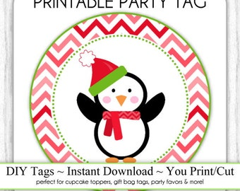 Instant Download -  Red/Pink Chevron Christmas Penguin Printable Party Tags, Cupcake Topper, DIY, You Print, You Cut
