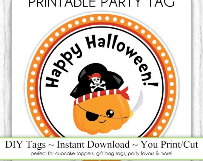Halloween Printable Tags, Cute Pumpkin Pirate Tags, DIY Party Tags, You Print, You Cut, INSTANT DOWNLOAD