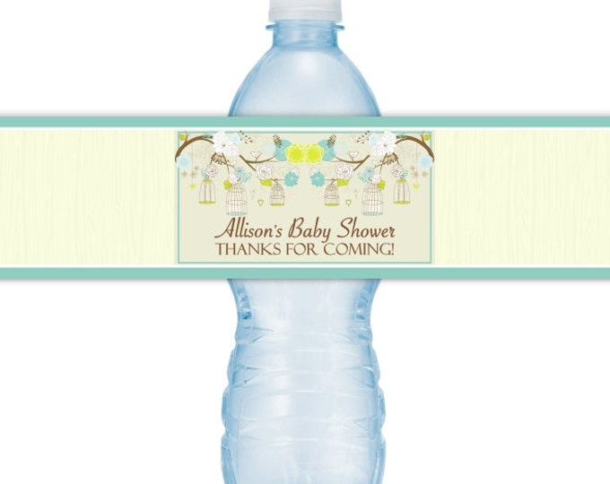 Baby Shower Water Bottle Labels, Baby Shower, CUSTOM Birdcage Baby Shower Water Bottle Labels, Grean Blue Birds Baby Shower, you print, DIY