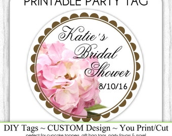 Bridal Shower Favor, CUSTOM Printable Engagement Party, Wedding Shower Printable, Custom Tag, DIY Cupcake Topper, You Print, You Cut