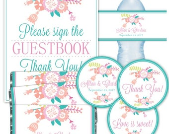 CUSTOM Printable PARTY PACK: Printable Tags, Candy Wrappers, Water Bottle Labels, 8x10 Guestbook Sign, Pastel Floral